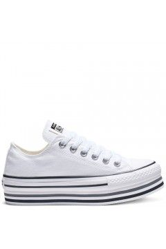 Converse 563971C Chuck Taylor All Star Sneakers Low Platform Canvas Bianco FRANCESINE E SNEAKERS 563971C