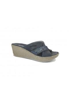 Florance 39206 Ciabatte Donna con Zeppa in Vera Pelle Blu Jeans  Ciabatte e Infradito F39206JEA