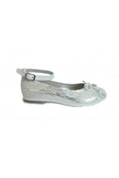 Asso AG 514 Scarpe Bambina Ballerine con Cinturino alla Caviglia in Pizzo Bianco Argento Scarpe Bambina AG514ARG