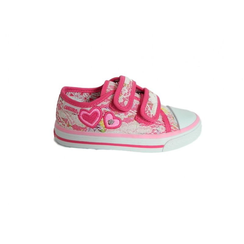 pretty nice fb11f f5755 Canguro C60164 Scarpe Bambina Sneakers Low con Strappi Canvas Rosa