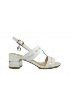 Laura Biagiotti 5506 Sandali Donna Tacco Medio con Logo Bianco Sandali LB5506BIA