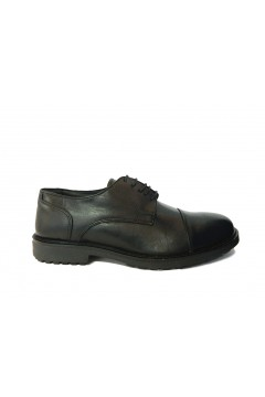 MADE IN ITALY 0209 Scarpe Uomo Stringate Derby in Vera Pelle Nero Formale BKS0209PNR
