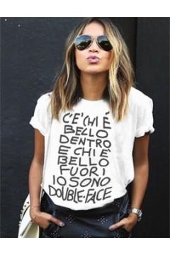 Figa Milano Made in Italy T002 T-Shirt ' C'è chi è bello dentro e chi è bello fuori io sono double face ' Bianco T-Shirt T002BIA