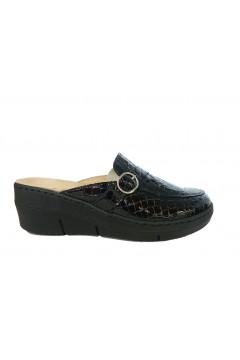 STILEDIVITA 8357 Pantofole Donna Sabot Plantare Estraibile in Vera Pelle Cocco Nero Ciabatte e Infradito SDV8357CNR