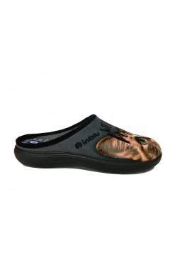 INBLU EC 51 Ciabatte Donna Pantofole in Panno Stampa Gatto Grigio Ciabatte e Infradito EC51GR