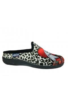 AXA 80281 Pantofole Donna in Panno Nero Animalier Ciabatte e Infradito 80281NR