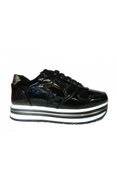 Asso AG 3250 Scarpe Bambina Sneakers Platform Stringate con Zip Nero Scarpe Bambina AG3250NR