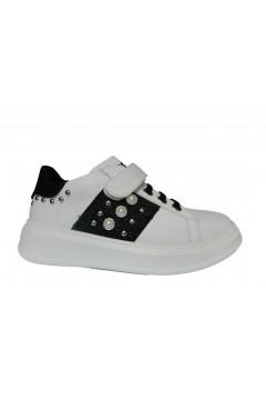 Asso AG 3317 Scarpe Bambina Sneakers Oversize Lacci Elastici Bianco Nero BAMBINA AG3317BNR