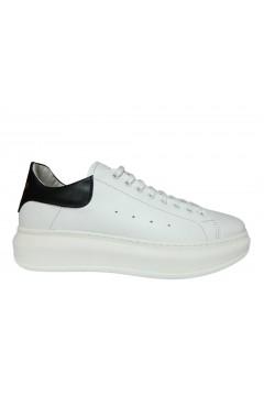 Interland 9026 Made in Italy Sneakers Uomo Stringate Oversize Vera Pelle Bianco Nero Sneakers I9026BNR
