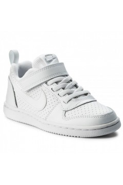 Nike Court Borough Low (PSV) 870025 100 Scarpe da Ginnastica Lacci Elastici Bianco BAMBINO 870025100