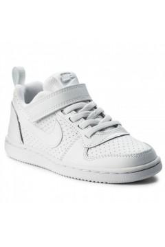Nike Court Borough Low (PSV) 870025 100 Scarpe da Ginnastica Lacci Elastici Bianco Scarpe Bambino 870025100