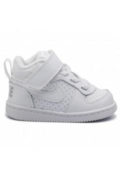 Nike Court Borough Mid (TDV) 870027 100 Scarpe da Ginnastica Lacci Elastici Bianco Scarpe Bambino 870027100