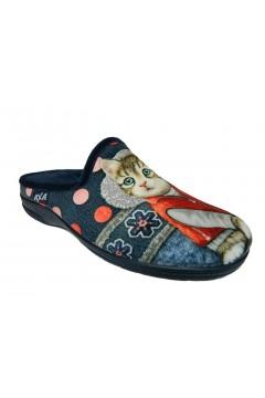 AXA 80284 Pantofole Donna in Panno con Gatto Blu Ciabatte e Infradito 80284BLU