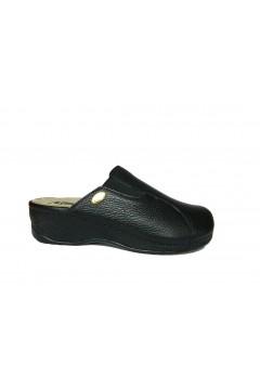 PLANTAS Franca F826-10 Pantofole Sabot Donna con Plantare Estraibile Vera Pelle Nero Ciabatte e Infradito F82610