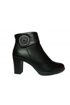 The Flexx B652 35 Button Up Scarpe Donna Stivaletti Tacco Alto in Vera Pelle Nero Stivaletti B65235NR