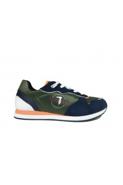 Trussardi Jeans 77A00225 Sneakers Uomo Stringate Militar Blu Yellow Sneakers 77A00225MBY