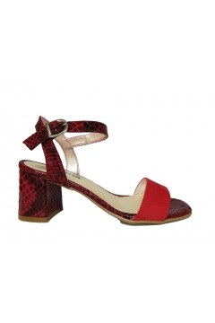 Made in Italy 01 Sandali Donna Tacco 50 Pitone Suede Rosso  Sandali KLN01PTSRS