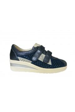 Divan 8550 Scarpe Donna Sneakers Doppi Strappi Vera Pelle Blu  Francesine e Sneakers D8550BLU