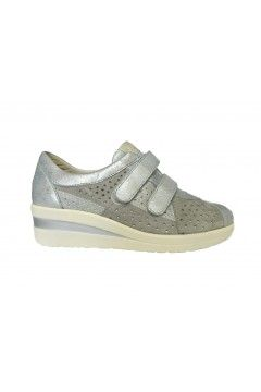 Divan 8550 Scarpe Donna Sneakers Doppi Strappi Vera Pelle Grigio  Francesine e Sneakers D8550GRI