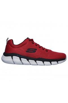 SKECHERS 52857 RDBK Scarpe da Ginnastica Uomo Running Air-Cooled Memory Foam Rosso Scarpe Sport 52857RDBK
