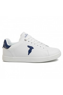 Trussardi Jeans 77A00241 Sneakers Uomo Stringate Bianco Logo Blu Sneakers 77A00241WBN