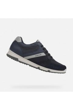 Geox U Wilmer C U023XC Sneakers Uomo Stringate Camoscio Mesh Blu Sneakers U023XC01422C4002