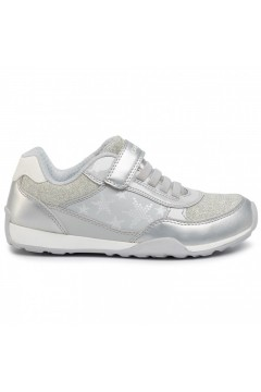 Geox J Jocker Plus J02AUB Sneakers Bambina Strappo e Lacci Elastici Argento Scarpe Bambina J02AUB0NFEWC0679