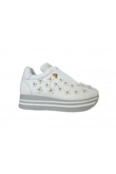 Braccialini Tua T68B Scarpe Donna Sneakers Platofrm Fiori Bianco Francesine e Sneakers T68BBIA