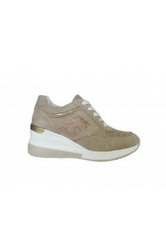 Gold & Gold GA235 Sneakers Donna Zeppa Media Stringate Beige Oro Francesine e Sneakers GA235BORO