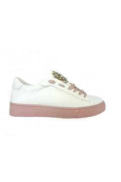 Gold & Gold GA242 Sneakers Donna Slip On con Pietre Bianco Rosa Francesine e Sneakers GA242PNK