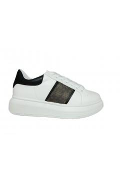 Gold & Gold GA220 Sneakers Donna Stringate Oversize Platform Bianco Nero Francesine e Sneakers GA220BNR