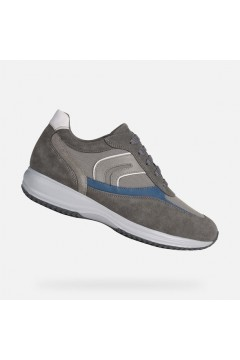 Geox U Happy P U0162P Sneakers Uomo Stringate Camoscio Mesh Grigio Casual U0162P02211C1006