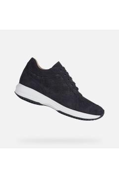 Geox D Happy B Scarpe Donna Interactive Stringate Camoscio Shiny Blu Francesine e Sneakers D0262B07722C4002