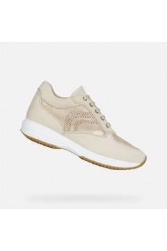 Geox D Happy B D0262B Scarpe Donna Interactive Stringate Camoscio Shiny Sand Francesine e Sneakers D0262B07722C5004