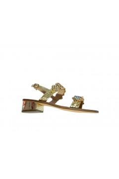 Gold & Gold GL538 Sandali Gioiello Donna Tacco Medio 4 Modello Positano Oro Fluo Sandali GL538FLUO