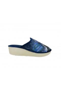 Axa 19192 Pantofole Donna Zeppa Media in Panno Blu Paris Ciabatte e Infradito A19192BLU
