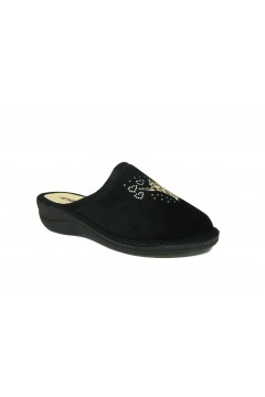 Axa 19198 Pantofole Donna in Panno Nero Ciabatte e Infradito A19198NR