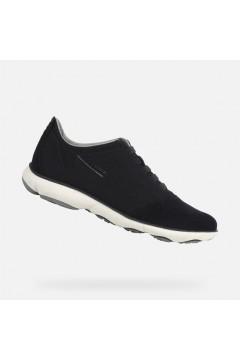 Geox U Nebula B U52D7B Sneakers Uomo Lacci Elastici Cotton Suede Blu Navy Casual BU52D7B0ZB22C4002