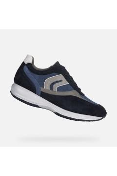 Geox U Happy P U0162P Sneakers Uomo Stringate Camoscio Mesh Blu Casual U0162P02211C4264