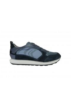 Geox U Volto P U029WD Sneakers Uomo Stringate Camoscio Mesh Blu Sneakers U029WD02214CF44Y