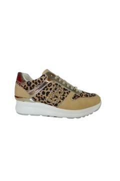 Laura Biagiotti 6102 Scarpe Donna Sneakers Stringate Animalier Sabbia Francesine e Sneakers L6102SAB