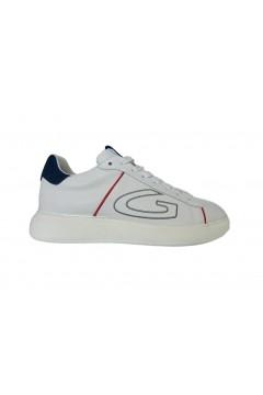 Alberto Guardiani AGU101028 King Sneakers Uomo Oversize Vera Pelle White Blu Sneakers AGU101028WBL