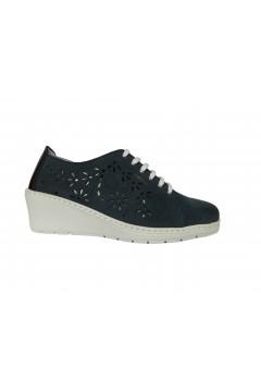 NOTTON 134 Scarpe Donna Comfort Stringate in Morbia Vera Pelle Blu Francesine e Sneakers N134BLU