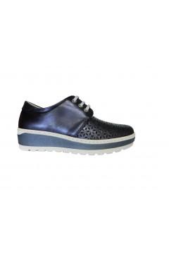 NOTTON 2822 Scarpe Donna Stringate in Morbida Vera Pelle Blu Francesine e Sneakers N2822BLU