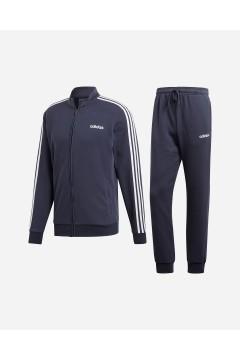 Adidas DV2455 Tuta Completa 3-Stripes Uomo Cotone Garzato Blu Legend Ink Tute DV2455
