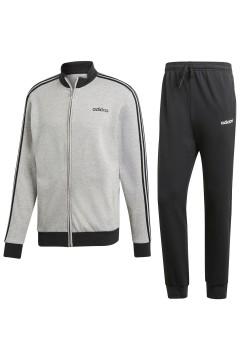 Adidas DV2444 Tuta Completa 3-Stripes Uomo Cotone Garzato Black Grey Tute DV2444