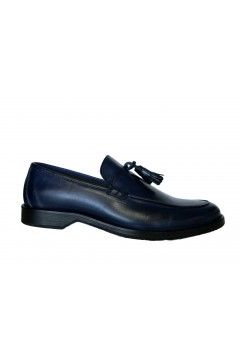 Akeis Made in Italy 313 Scarpe Uomo Mocassini Collage in Vera Pelle Nappine Blu Formale AK313BLU