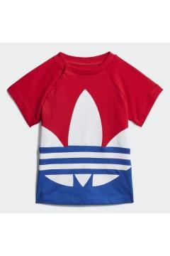Adidas GE1968 T-Shirt Large Trefoil Bambini Blu Red White Abbigliamento Bambino GE1968