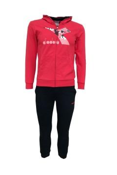 Diadora 102.176491 JU.HD FZ Suit Chromia Tuta Completa per Bambina Geranium Red Abbigliamento Bambina 102.17649145048
