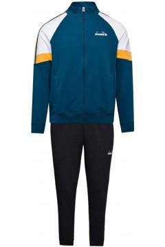 Diadora 102.176464 FZ Cuff Suit Core Tuta Completa Uomo Cotone Garzato Blu Tute 102.17646460100